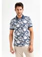 Avva Erkek  Polo Yakalı Baskılı Tişört A01S1248 Lacivert
